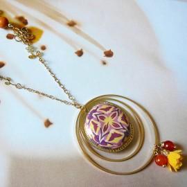 Bohemian long necklace golden brown wax Astree