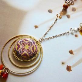 Bohemian long necklace gold plated brass, brown mandala pink in polymer clay, handmade Joanna Calla