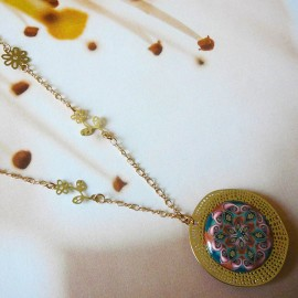 Bohemian necklace golden brown Astree