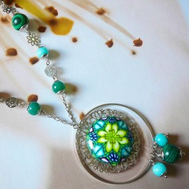 Bohemian silver long necklace green Astree