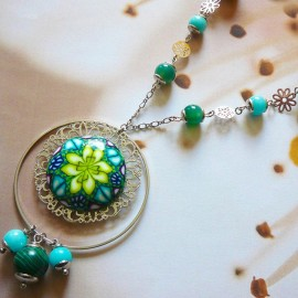 Bohemian silver long necklace Astrée, green yellow mandala in polymer clay, handmade Joanna Calla