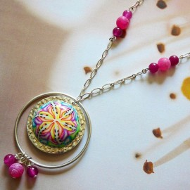 Long necklace silver plated 925, pink mandala in polymer clay, handmade Joanna Calla
