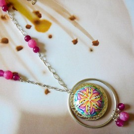Bohemian silver long necklace pink Astree