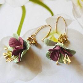 Bohemian floral pendant earrings, gold plated, pink green fuchsia flower in fabric, handmade Joanna Calla
