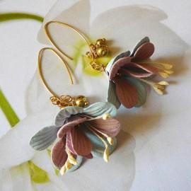 Bohemian golden pendant earrings pink blue Fuchsia