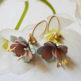 Bohemian floral gold plated earrings, blue pink fuchsia in cloth, handmade, Joanna Calla