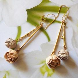 Boucles d'oreilles florales pendantes, bohème Holly plaqué or, pivoines orange marron en tissu, fait main, Joanna Calla