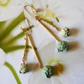 Boucles d'oreilles pendantes Holly pivoine verte