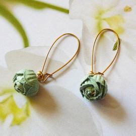 Bohemian golden pendant earrings green Holly
