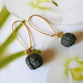 Boucles d'oreilles pendantes plaqué or Holly noir