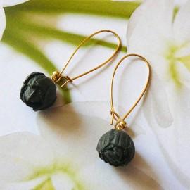 Bohemian floral pendant earrings Holly, gold plated, black peony in cloth, handmade Joanna Calla