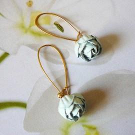 Bohemian golden pendant earrings blue Holly