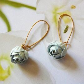 Bohemian floral pendant earrings Holly, gold plated, sky blue peony in cloth, handmade Joanna Calla