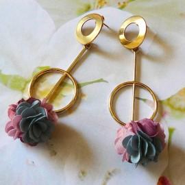 Bohemian long pendant ear studs pink Daisy