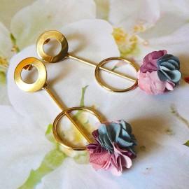 Stud earrings, long pendant Daisy gold plated bohemian, pink blue flower in cloth, handmade Joanna Calla