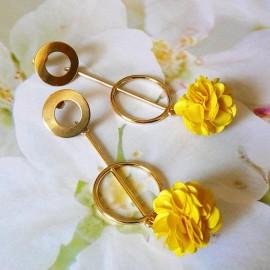 Bohemian long pendant ear studs yellow Daisy