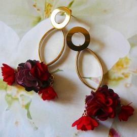 Puces bohème pendantes longues Daisy rouge foncé