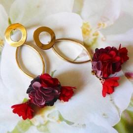 Bohemian stud earrings, long pendant Daisy, in gold plated brass, dark red flower in cloth, handmade Joanna Calla