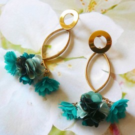 Bohemian stud earrings, long pendant Daisy, in gold plated brass, turquoise flower in cloth, handmade Joanna Calla