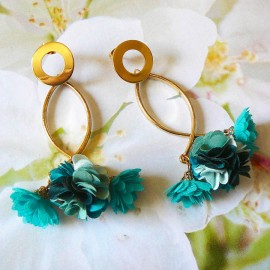 Bohemian long pendant ear studs turquoise Daisy