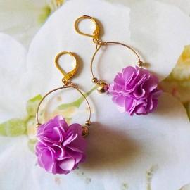 Boucles d'oreilles bohème pendantes Daisy mauve