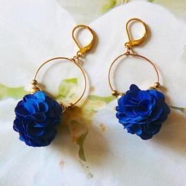 Boucles d'oreilles bohème pendantes Daisy bleue