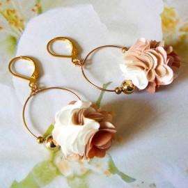 Boucles d'oreilles bohème pendantes Daisy marron