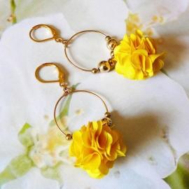Boucles d'oreilles bohème Daisy jaune