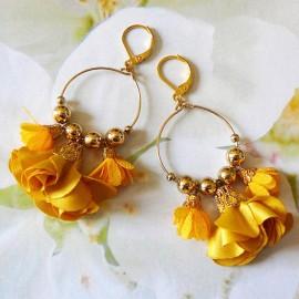 Boucles d'oreilles bohème pendantes Daisy orange