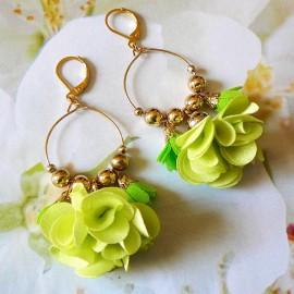 Boucles d'oreilles bohème pendantes Daisy verte
