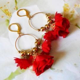 Boucles d'oreilles bohème pendantes Daisy rouge