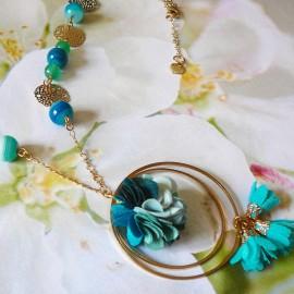 Collier sautoir bohème Flora doré turquoise