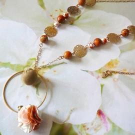 Collier sautoir bohème Flora doré marron