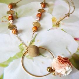 Bohemian long necklace Flora, in golden brass, brown flower in cloth, handmade Joanna Calla
