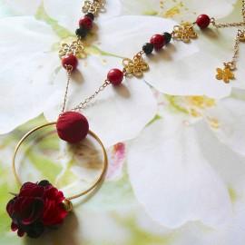 Bohemian long necklace Flora, in golden brass, red black flower in cloth, handmade Joanna Calla