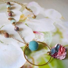 Bohemian golden long necklace pink blue Flora