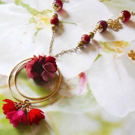 Bohemian long necklace Flora, in golden brass, pink red flower in cloth, handmade Joanna Calla