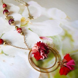 Collier sautoir bohème Flora doré rose rouge