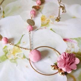Bohemian golden long necklace pink Flora