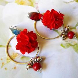 Bohemian long pendant ear studs red Flora