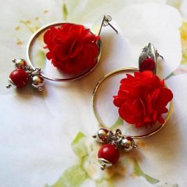 Bohemian stud earrings, long pendant Flora, silver plated brass, red flower in cloth, handmade Joanna Calla