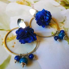 Bohemian stud earrings, long pendant Flora, silver plated brass, blue flower in cloth, handmade Joanna Calla
