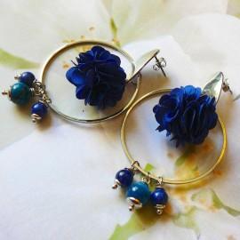 Bohemian long pendant ear studs blue Flora