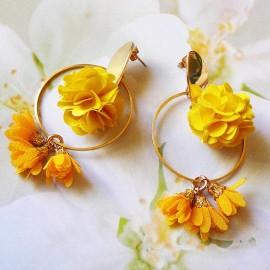 Bohemian stud earrings, long pendant Flora, gold plated brass, yellow flower in cloth, handmade Joanna Calla