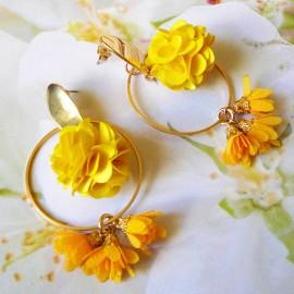 Bohemian long pendant ear studs yellow Flora