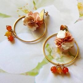 Bohemian stud earrings, long pendant Flora, in golden brass, brown flower in cloth, handmade Joanna Calla