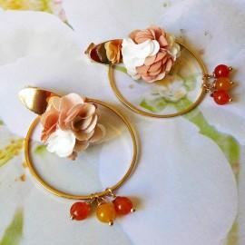 Bohemian long pendant ear studs brown Flora