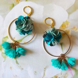 Long floral bohemian pendant earrings, gold plated Flora, turquoise flower in cloth, handmade Joanna Calla