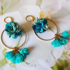 Boucles d'oreilles bohème pendantes Flora turquoise