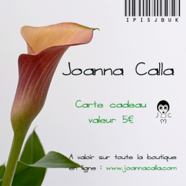 Carte cadeau, bon d'achat 5€, bijoux floraux, fait main, bijoux bohème, Joanna Calla